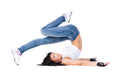 Young fitness woman doing flow on the blades Stock Images