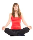 Young fitness woman doing yoga exercises isolated on white background Stock Image