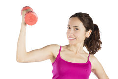 Young fitness woman with a dumbbell Stock Photo