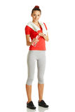 Young fitness woman holding bottle of water Stock Photos