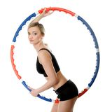 Young fitness woman with hula hoop isolated Royalty Free Stock Image