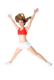 Young fitness woman jumping isolated over white Royalty Free Stock Photography