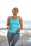 Young fitness woman laughing outside Stock Photography