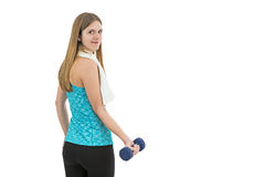 Young fitness woman lifting dumbbell Stock Photography