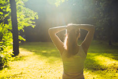 Young fitness woman in morning forest. Young fitness woman get exercises in morning forest Royalty Free Stock Photos