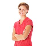Young Fitness Woman in Red Shirt Isolated on White Royalty Free Stock Photo