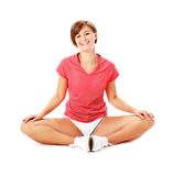 Young Fitness Woman in Red Shirt Stretching Royalty Free Stock Images