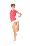 Young Fitness Woman in Red Shirt Stretching, Isola Royalty Free Stock Photography