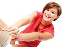 Young Fitness Woman in Red Shirt Stretching, Isola Royalty Free Stock Photo