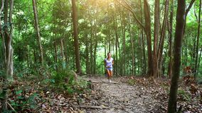 Young fitness woman running in jungle forest on stock video