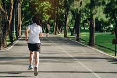 Young fitness woman running in the park outdoor, female runner walking on the road outside, asian athlete jogging and exercise on. Footpath in sunlight morning stock photography