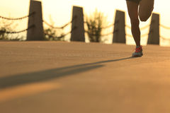 Young fitness woman running on sunrise seaside Royalty Free Stock Photography
