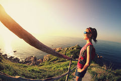 Young fitness woman trail runner enjoy the view Royalty Free Stock Photo