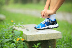 Young fitness woman tying shoelaces Stock Photography