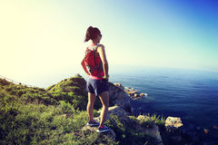 Young fitness woman viewing on seaside Stock Photos