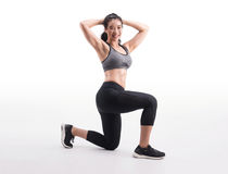 Young fitness woman,weight Squat exercise. Young fitness woman on white background. weight Squat exercise, wellness.healthy and lifestyle concept royalty free stock photography