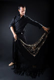 Young flamenco dancer in beautiful dress on black background. Stock Image