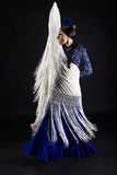 Young flamenco dancer in beautiful dress on black background. Royalty Free Stock Photo