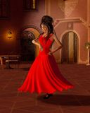 Young Flamenco Dancer in A Spanish Courtyard Stock Image