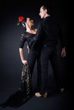 Young flamenco dancers in beautiful dress on black background. Royalty Free Stock Image