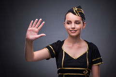 The young flight attendant on gray background Stock Photos