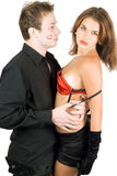 Young flirting couple Stock Photos