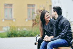 Young flirting couple in love outdoor Royalty Free Stock Image