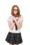 Young flirting student female isolated on white Royalty Free Stock Photo