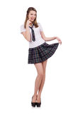 Young flirting student girl isolated on white Royalty Free Stock Photography