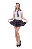Young flirting student girl isolated on white. Schoolgirl isolated on the white Stock Photos