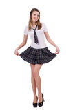 Young flirting student girl isolated on white Stock Photos