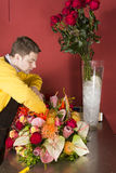 Young florist sorting flowers stock images