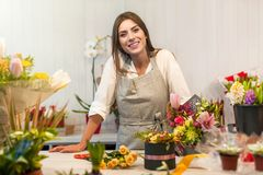 Young florist woman in a flower shop royalty free stock image