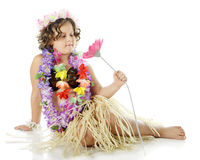 Young Flower-Loving Hula Girl Stock Photo
