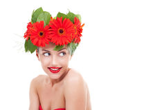 Young flower woman Stock Image
