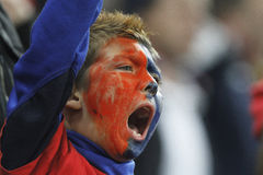 Young football fan with painted face cheering Royalty Free Stock Image