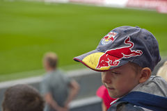 Young Football Fan at the Tribune Royalty Free Stock Photography
