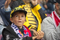 Young Football Fan at the Tribune Stock Image