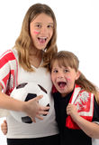 Young football fans screaming Stock Photography