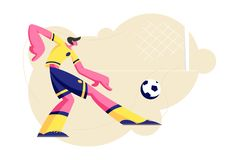 Young Football Player Character in Team Uniform Kicking Ball, Sportsman Training before Competition, Soccer League Tournament. Sport Life, Sportsman in Motion royalty free illustration