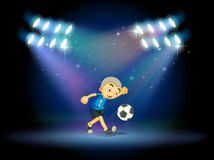 A young football player at the stage Royalty Free Stock Photos