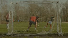 Soccer players doing football training session stock footage