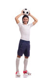 The young footballer isolated on the white Stock Photography