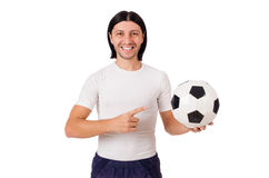 The young footballer isolated on the white Stock Photos