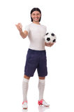 The young footballer isolated on the white Stock Photo