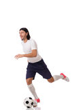 The young footballer isolated on the white Stock Image