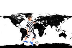 Young footballer in world Royalty Free Stock Image