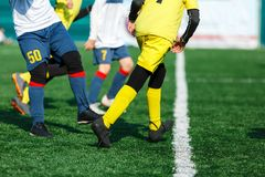 Young footballers dribble and kick football ball in game. Boys in yellow white sportswear running on soccer field.Training. Active lifestyle, sport, children royalty free stock image