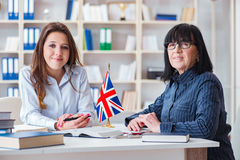 The young foreign student during english language lesson Royalty Free Stock Photo