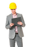 Young foreman with hard hat Stock Photos